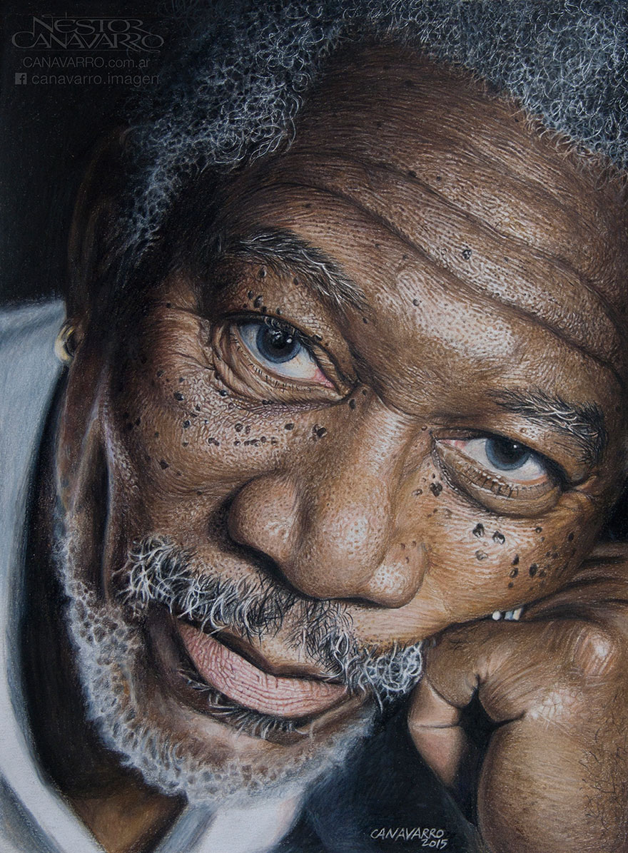 my 50 hour high detail drawing of morgan freeman in color pencils