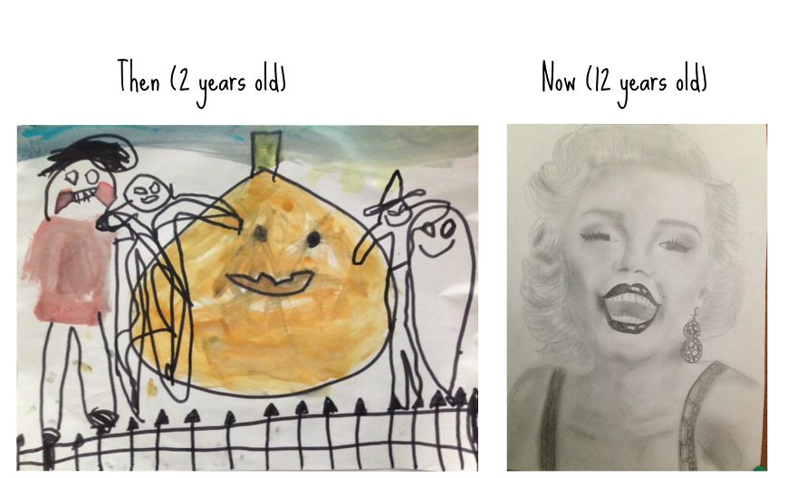 2 Years Old To 12 Years Old, My Drawing Difference
