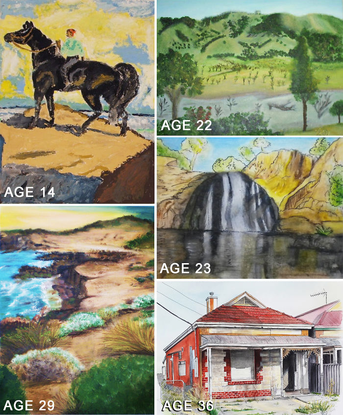 My Work From Age 14 To 36 – First Starting Out With Acrylics And Then Moving Onto Watercolours