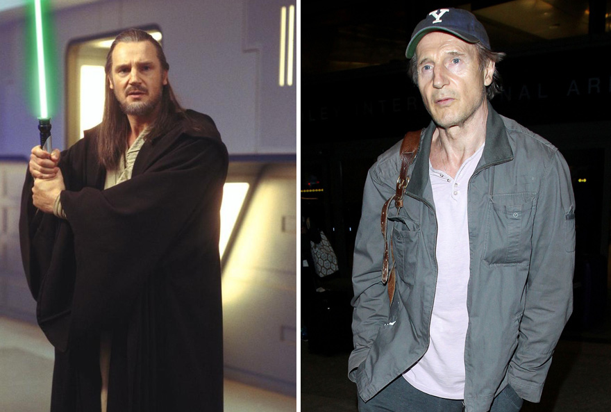 Liam Neeson As Qui-Gon Jinn, 1999 And 2015