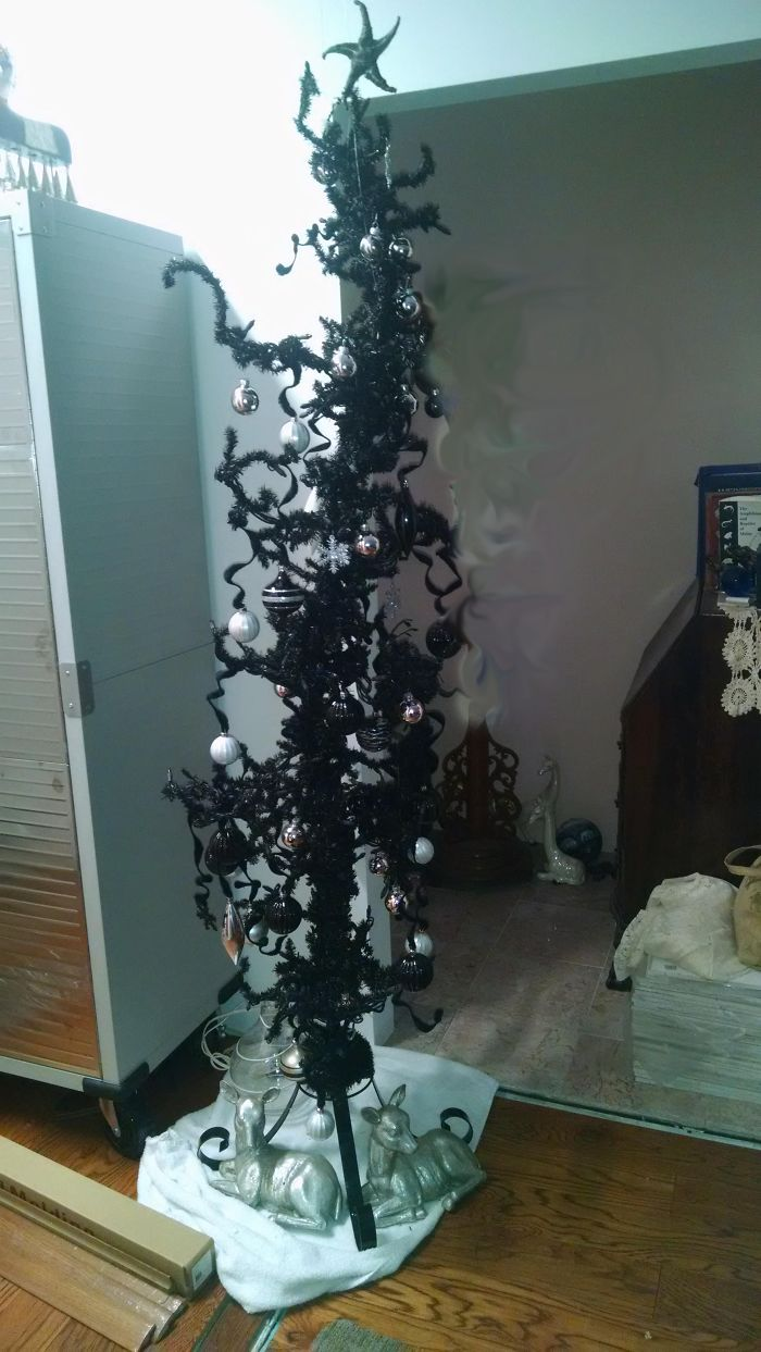 Black And Silver Nightmare Before Christmas Tree