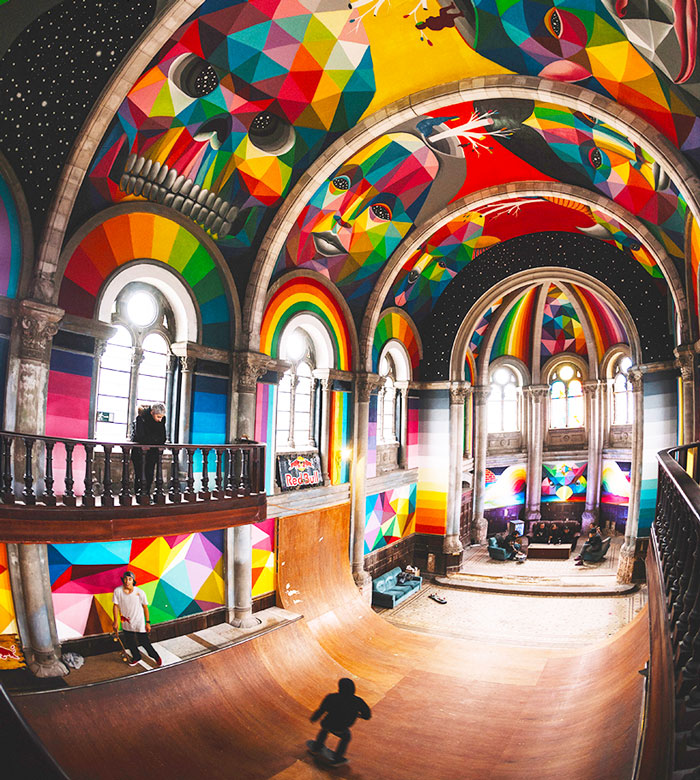 A 100-Year-Old Church Transformed Into A Skate Park Painted With Colorful Graffiti