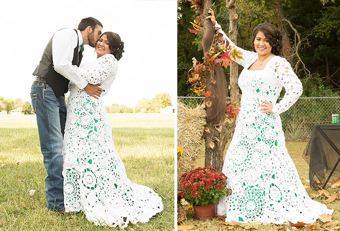 Bride Spends 8 Months Crocheting Her Own $70 Wedding Dress, And It Looks Like A Million Dollars