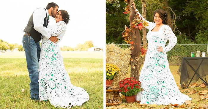Bride Spends 8 Months Crocheting Her Own 70 Wedding Dress And It