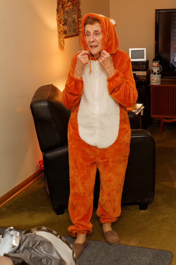 Here Is A Photo Of My Grandma Wearing A Teddy Bear Onesie