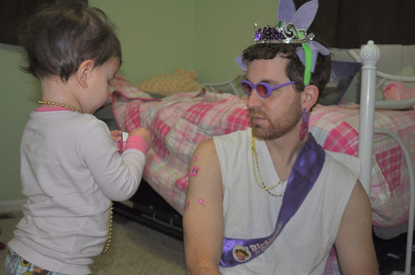 Daddy Plays Dress-Up With Daughter