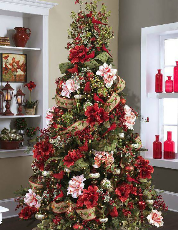 1 floral christmas tree - Pictures Of Pretty Decorated Christmas Trees