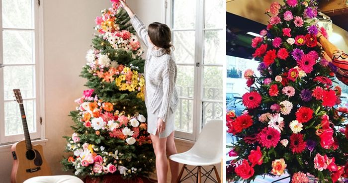 Christmas Tree Decoration.People Are Decorating Their Christmas Trees With Flowers And