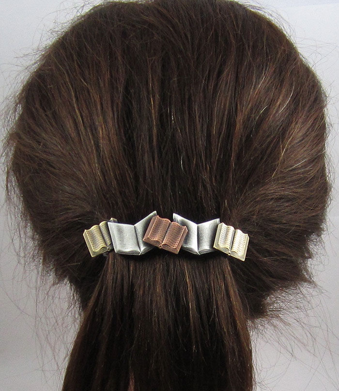 French Barrette Clip With Books