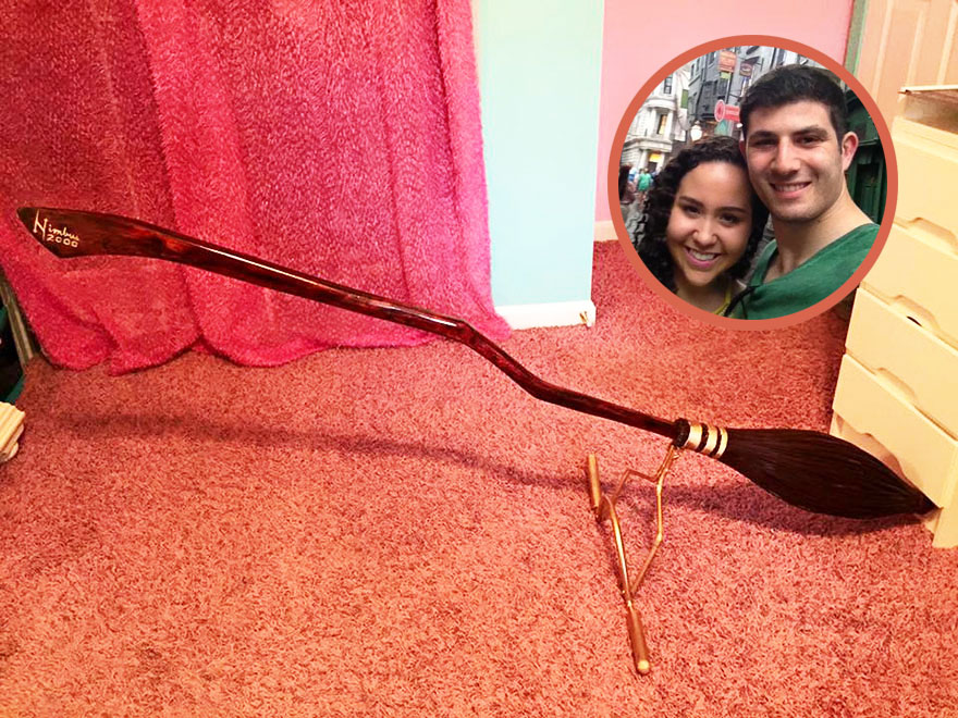 Best Boyfriend Ever Hand-Made A Nimbus 2000 For His Girlfriend For Christmas