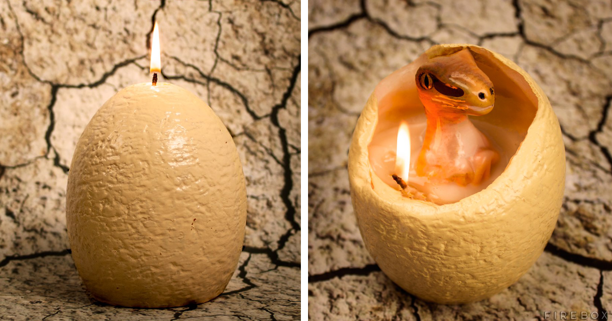 """Dinosaur Egg Candle That """"Hatches"""" A Baby Raptor When It Melts"""