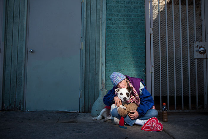 Homeless Woman Lynn With Her Dog Charlie