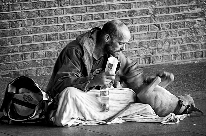 Homeless Man Playing With His Dog