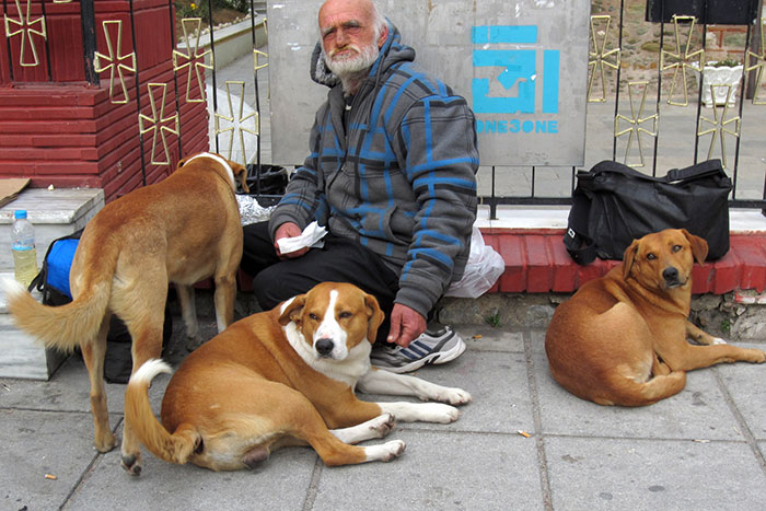 Homeless With 3 Of His 4 Dogs Shares Whatever Food He Has With Them