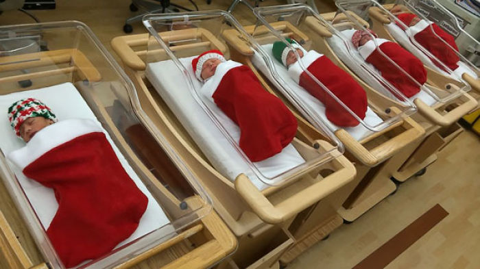 Babies Born In The Festive Period Are Wrapped Up In Christmas Stockings