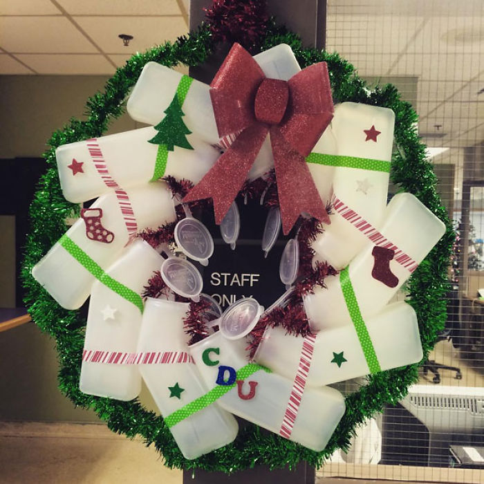 Christmas At The Hospital... A Wreath Made Of Urinals