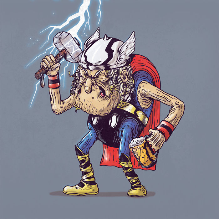 How Would Superheroes Look If They Grew Old?
