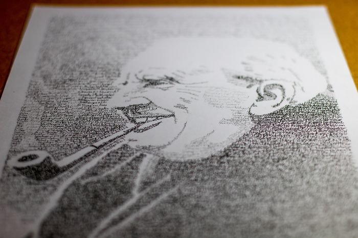 I Used An Ink Pen To Make Tolkien's Portrait Out Of His Words