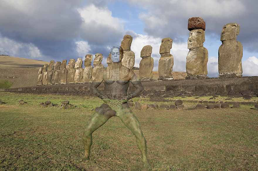 I Camouflaged A Model Into The Seven Wonders Of The World Bored Panda