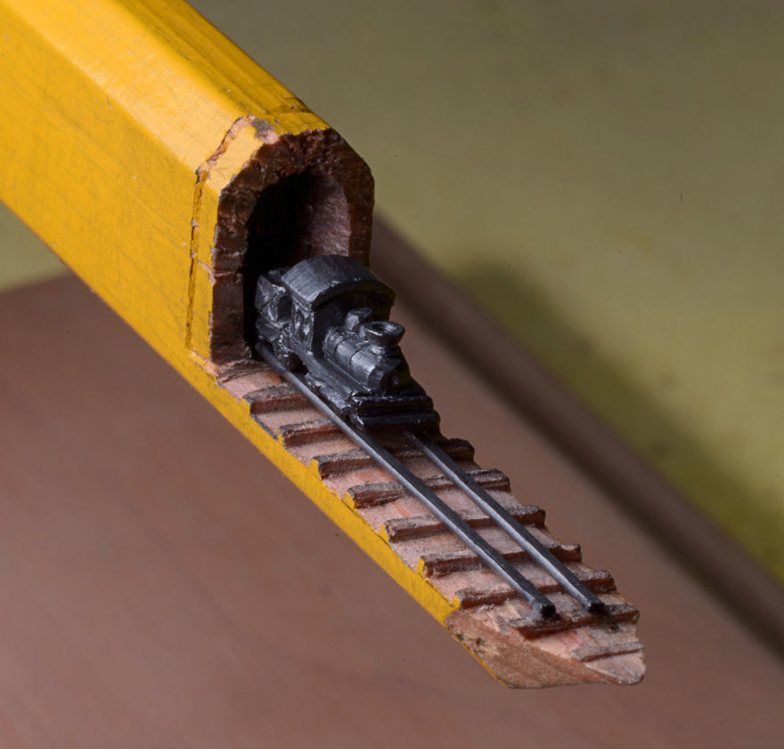 i found a carpenter pencil in the shop and carved it into a train on