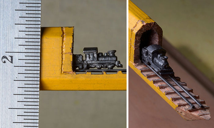 I Found A Carpenter Pencil In The Shop And Carved It Into A Train On Rails