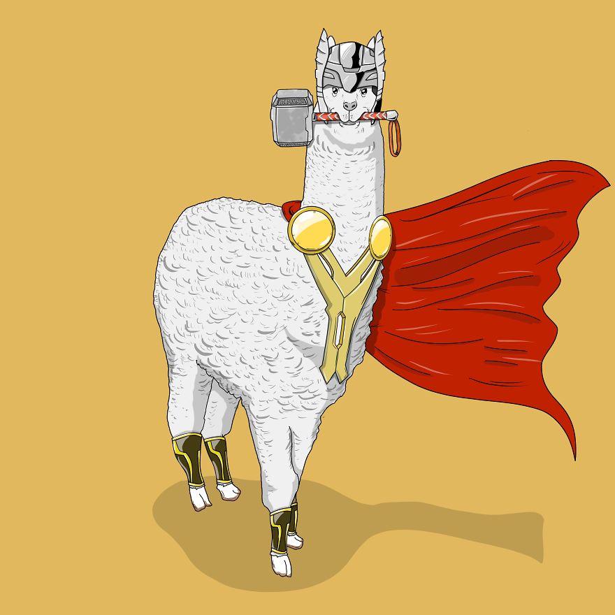 i illustrated wild animals as superheroes