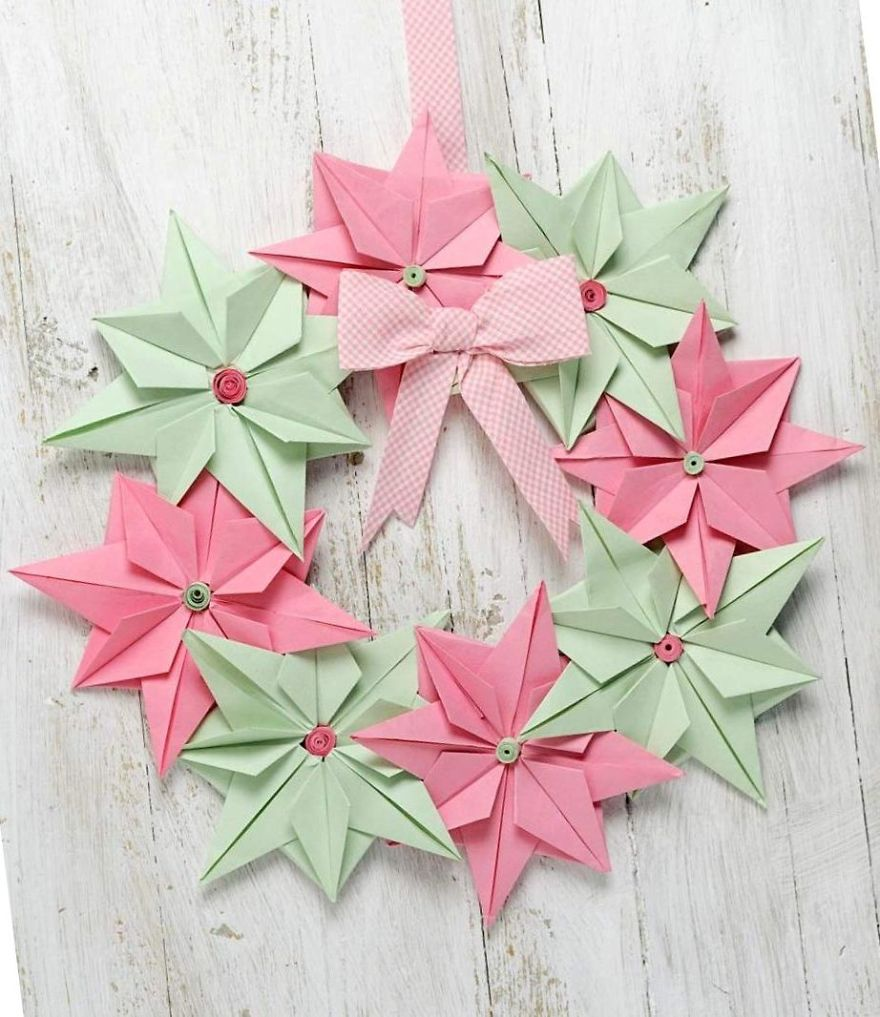 I made origami christmas decorations out of paper bored for Decorations out of paper