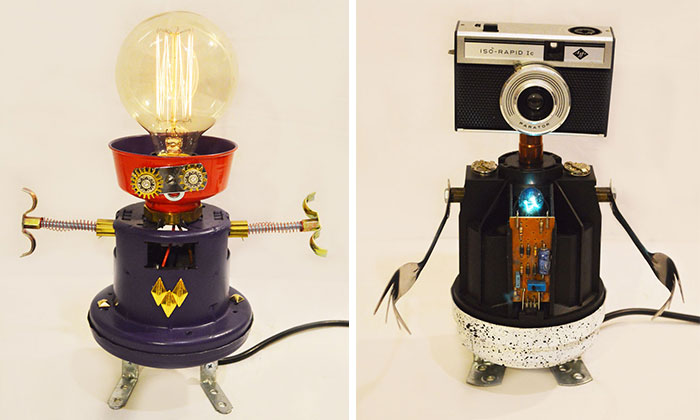 I Make Robot Lamps From Found Objects