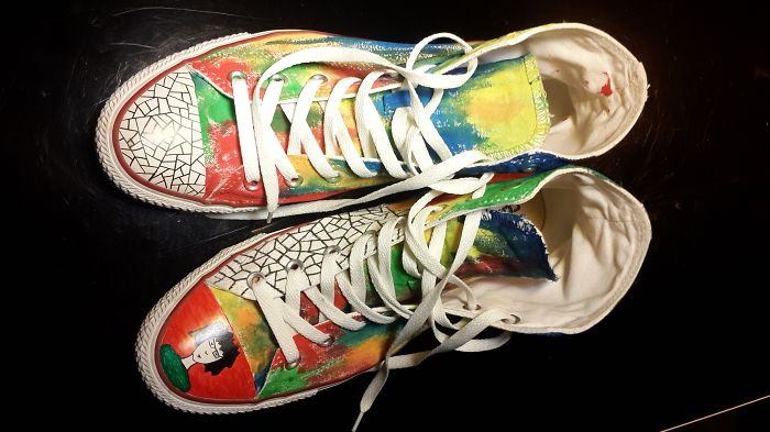 I Painted White Sneakers With Acrylic Paints And Fountain Pens