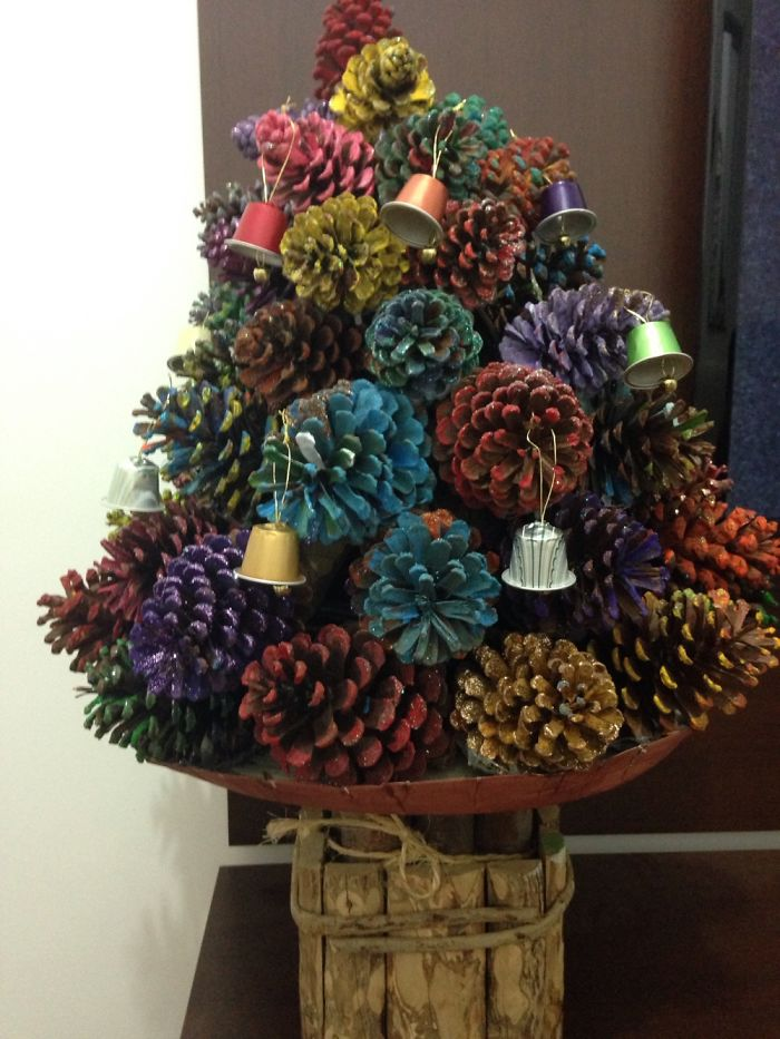 Diy Christmas Tree Made With Cones And Nespresso's Bells!