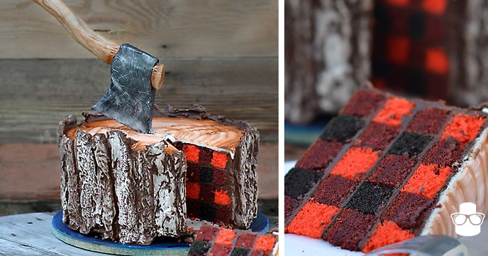 A Lumberjack Cake With An Edible Axe And A Plaid Pattern