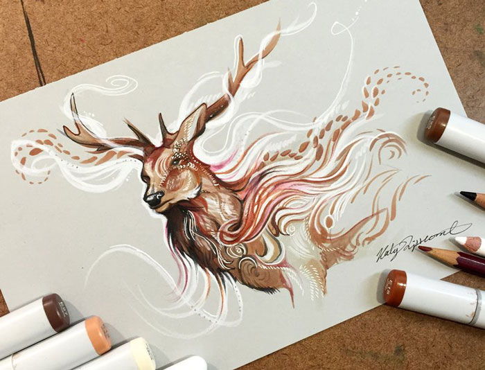 Wild Animal Spirits In Pencil And Marker Illustrations By Katy Lipscomb (Interview)