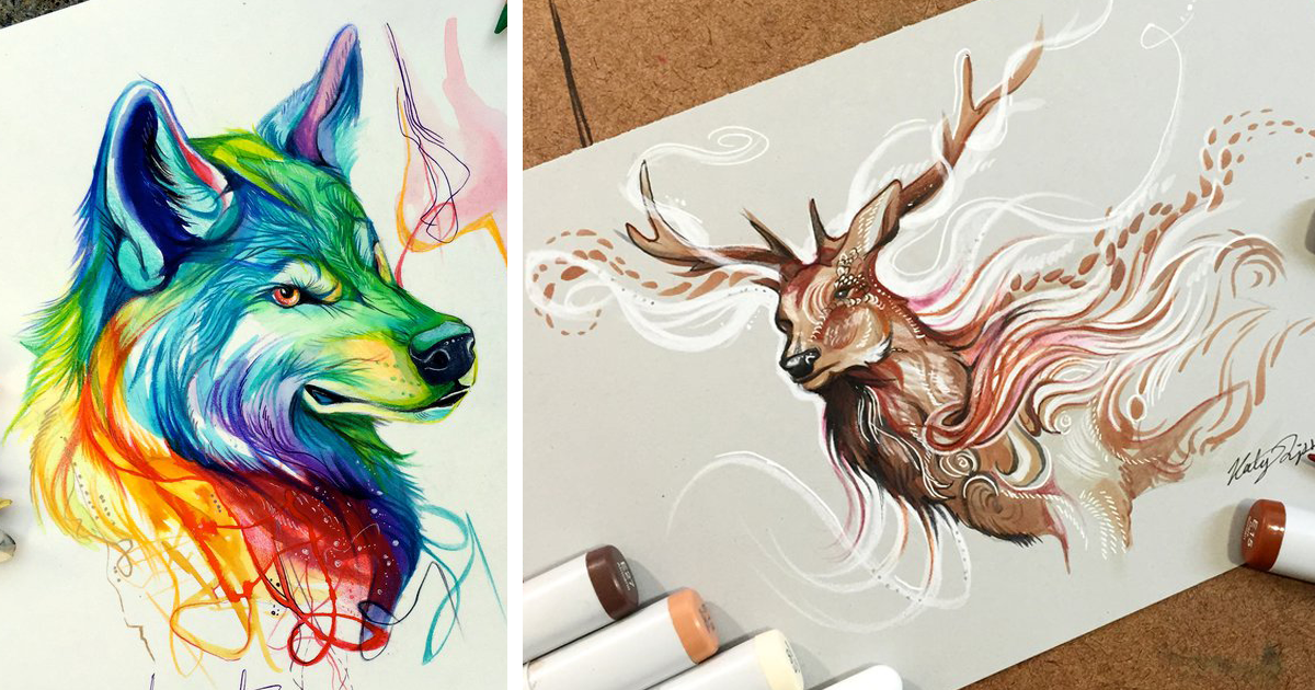 Wild animal spirits in pencil and marker illustrations by katy lipscomb interview bored panda