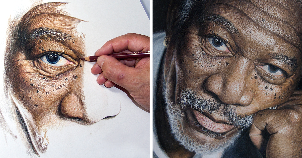 My 50-Hour High-Detail Drawing Of Morgan Freeman In Color Pencils