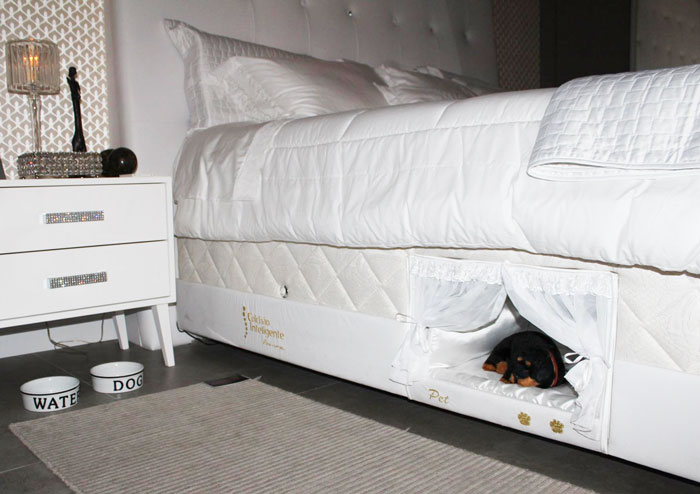 This Bed Has A Tiny Compartment For Your Pet So That You Can Sleep Together