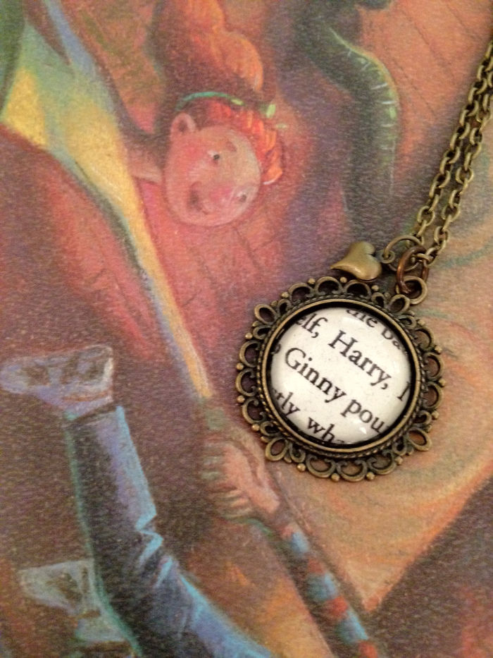 Harry Potter And Ginny Weasley J.k. Rowling Antiqued Bronze Book Page Necklace