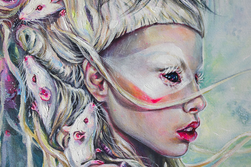 Realistic Acrylic Portrait Of Yolandi Visser And Her ...