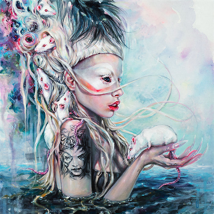Realistic Acrylic Portrait Of Yolandi Visser And Her Albino Rats