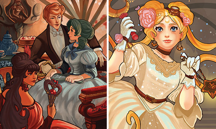 I Illustrate Sailor Moon Characters Living In XIX Century Paris