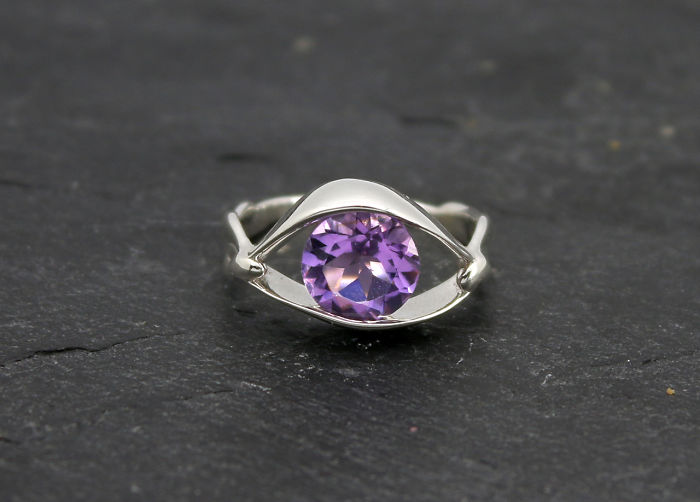 Salvador Dali Eye Ring – 3d Printed In Sterling Silver With Amethyst