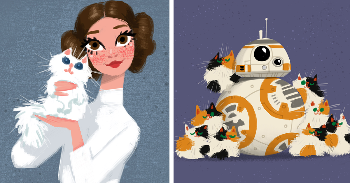 I Work At Walt Disney And In My Free Time I Draw Star Wars Characters And Their Cats