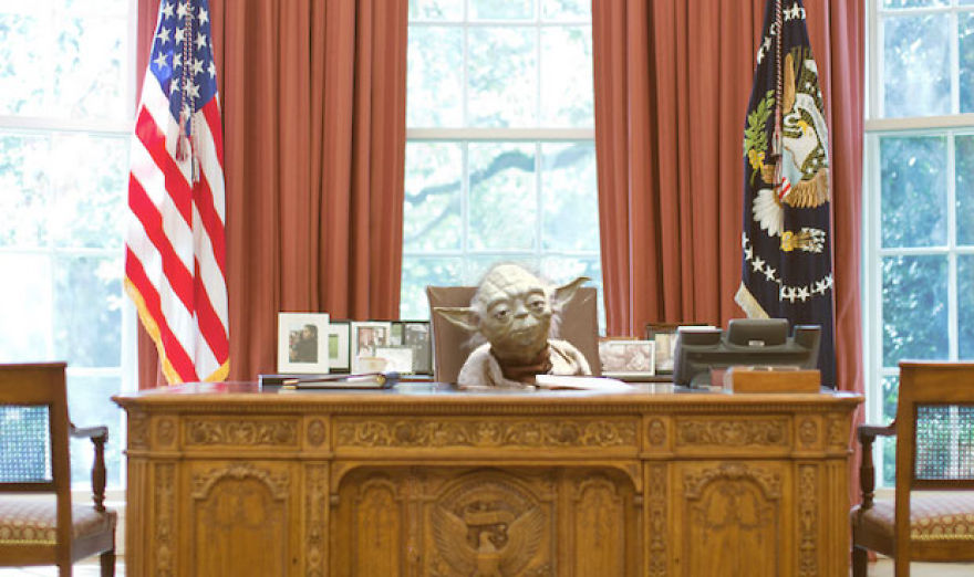Yoda At The Desk In The Oval Office