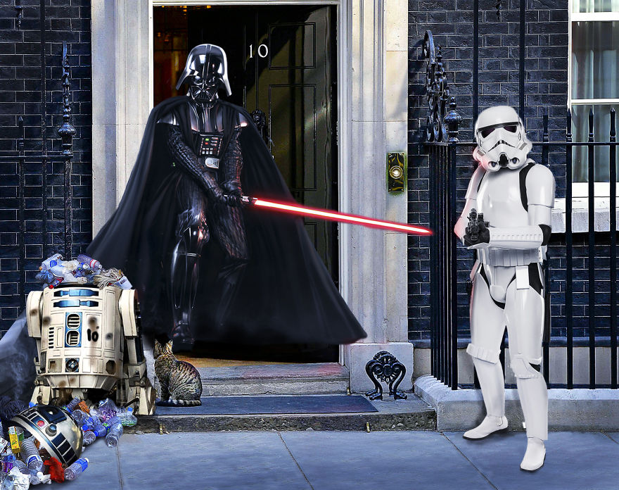 Darth Vader And A Storm Trooper Take On R2d2 At Number 10