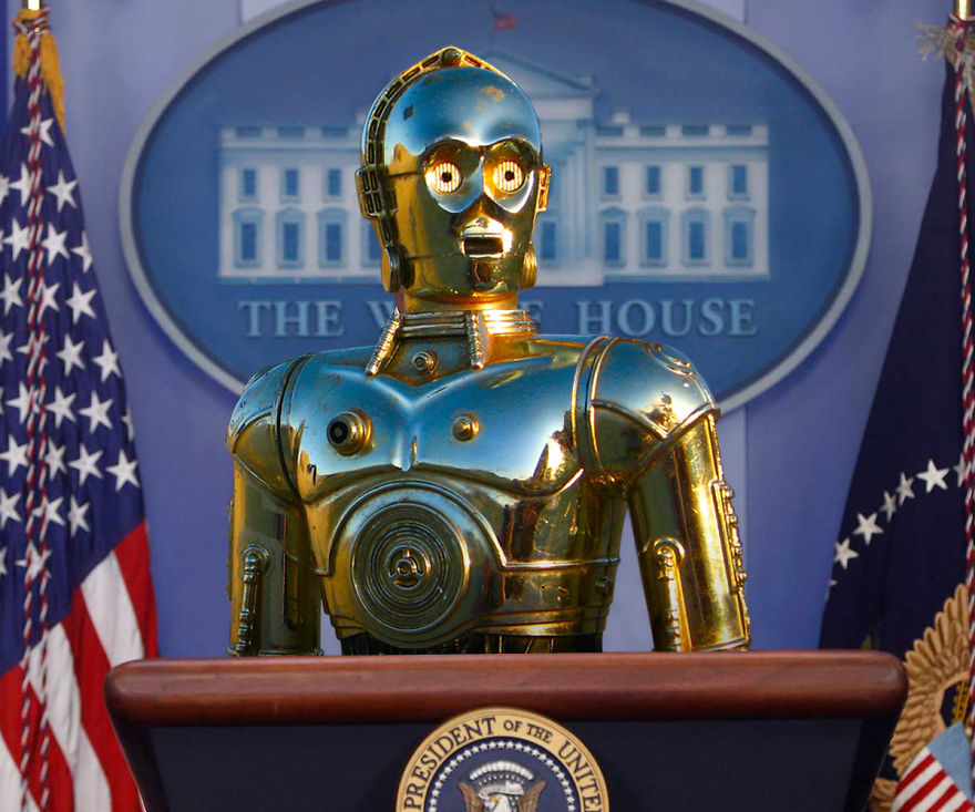 C-3po Addresses The Media At The White House
