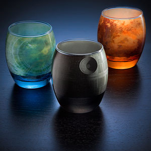 Planetary Drinking Glassware Shows The Famous Planets From Star Wars