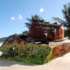 Abandoned Tank On A Beach In Puerto Rico