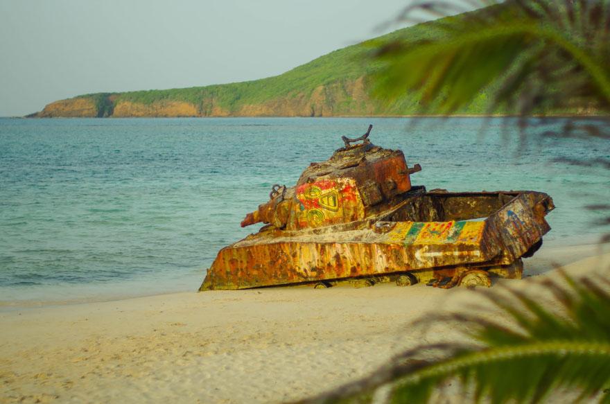 被遗弃的坦克在库莱布拉,波多黎各