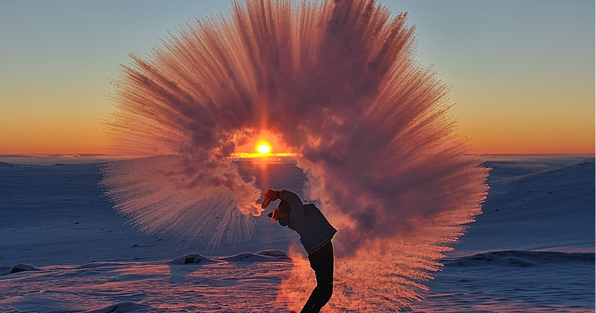 Pouring Hot Tea At -40C Near The Arctic Circle During Sunset