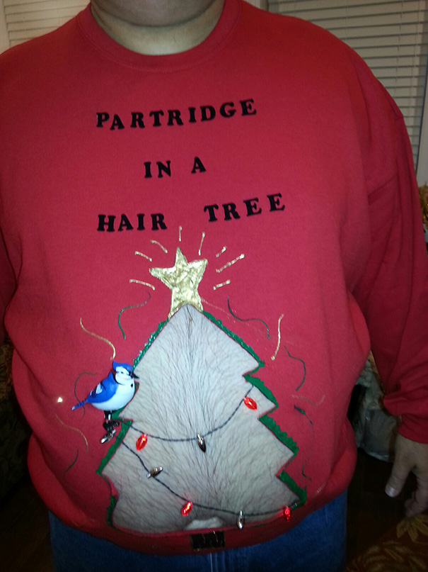 Mom Sent Me This Photo Of My Step Father's Entry Into An Ugly Sweater Competition