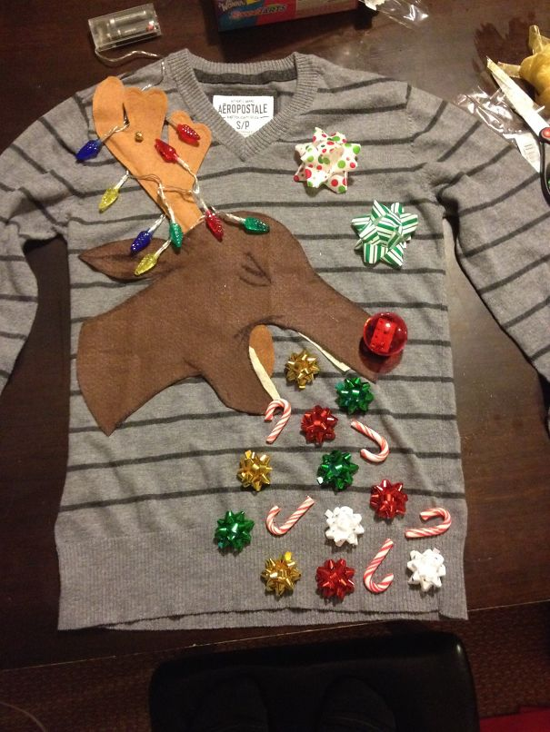 My 11-Year-Old Son's Home-Made Ugly Christmas Sweater